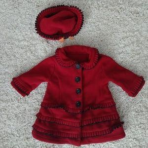 Red fleece long jacket